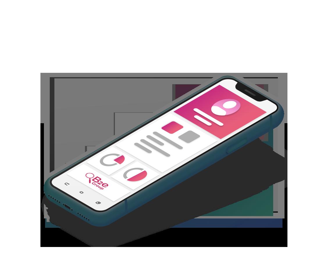 celular com logo B2e Group